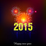 Happy New Year 2015 with fireworks background Stock Photo