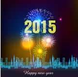 Happy New Year 2015 with fireworks background. Happy New Year with fireworks background vector illustration Royalty Free Stock Photo