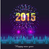 Happy New Year 2015 with fireworks background. Happy New Year with fireworks background vector illustration Stock Image