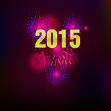Happy New Year 2015 with fireworks background Stock Images