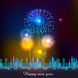 Happy New Year with fireworks background Royalty Free Stock Photography