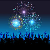 Happy New Year with fireworks background vector illustration Royalty Free Stock Photos