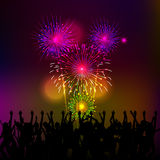 Happy New Year with fireworks background vector illustration Stock Photography