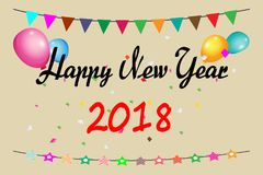 Happy New Year 2018. Happy New Year fireworks banner 2018 ,vector background Royalty Free Stock Photography