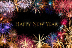 Happy New Year Fireworks Border Royalty Free Stock Images