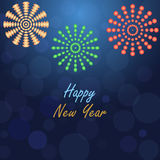 Happy new year fireworks card Stock Photography
