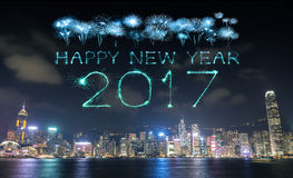 2017 Happy New Year Fireworks celebrating over Hong Kong city. At night, view from Victoria Harbour Royalty Free Stock Photography