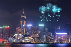 2017 Happy New Year Fireworks celebrating over Hong Kong city. At night, view from Victoria Harbour Royalty Free Stock Images