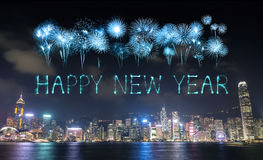 2017 Happy New Year Fireworks celebrating over Hong Kong city. Happy New Year Fireworks celebrating over Hong Kong city at night, view from Victoria Harbour Royalty Free Stock Photo