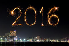2016 Happy New Year Fireworks celebrating over Pattaya beach. At night, Thailand Stock Photos