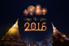 2016 Happy New Year Fireworks celebrating over Sukhothai histori. Cal park,Thailand Royalty Free Stock Images