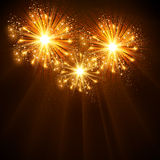 Happy New Year 2014 fireworks celebration background. Easy all editable stock illustration