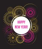 Happy New Year, Fireworks and celebration poster. Happy New Year, Fireworks and celebration background, poster, banner Stock Photos