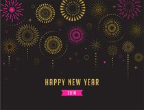 Happy New Year, Fireworks and celebration poster. Happy New Year, Fireworks and celebration background, poster, banner Stock Photo