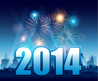 Happy New Year 2014 with fireworks and city Royalty Free Stock Image
