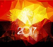 Happy new year fireworks 2017 city night background design.  Royalty Free Stock Photos