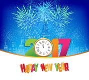 Happy new year fireworks 2017 clock background design.  Royalty Free Stock Images