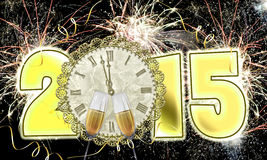 Happy New Year 2015 fireworks. Clock at midnight on New Year's Eve Royalty Free Stock Photo