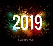 Happy New Year 2019 Fireworks colorful.  Royalty Free Stock Photos