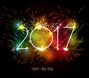 Happy New Year 2017 Fireworks colorful.  vector illustration