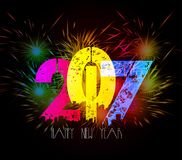 Happy New Year Fireworks colorful.  Royalty Free Stock Images