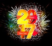 Happy New Year 2017 Fireworks colorful.  Royalty Free Stock Photos
