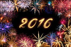 2016 Happy New Year Fireworks Stock Photo