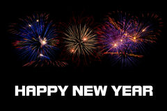Happy New Year Fireworks. Colorful Fireworks On Dark Sky Royalty Free Stock Images