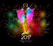 Happy New Year 2017 Fireworks and colorful triangle glass Royalty Free Stock Image