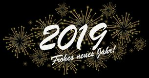 Happy New Year 2019 fireworks concept. Golden colored fireworks concept for New Year 2019 greetings (german text) with black background stock illustration