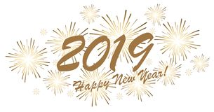 Happy New Year 2019 fireworks concept. Golden colored fireworks concept for New Year 2019 greetings with white background royalty free illustration