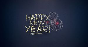 Happy New Year With Fireworks Royalty Free Stock Photography