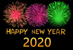 Happy new year 2020 with fireworks on dark background.