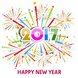 Happy New Year 2017 with fireworks display background Royalty Free Stock Images