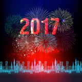 Happy New Year 2017 with fireworks display background Stock Photos