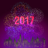 Happy New Year 2017 with fireworks display background Royalty Free Stock Photography