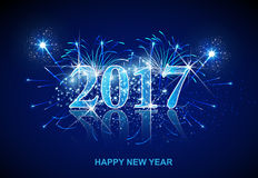 Happy New Year fireworks 2017. Easy all editable Stock Image