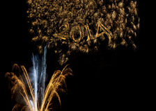 Happy New Year 2014 fireworks Stock Images