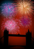 Happy New Year fireworks in England. Happy New Year fireworks London city with Thames bridge night scene. EPS10 vector with transparencies layered for easy Royalty Free Stock Images