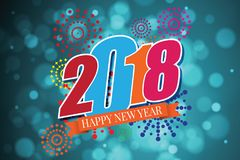 Happy new year 2018  of fireworks. Eps 10 Royalty Free Stock Photos