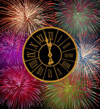 Happy New Year fireworks eve. Night time with clock. EPS10 vector with transparencies layered for easy manipulation and customisation Stock Photo