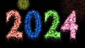 Happy new year fireworks 2024 eve celebration festive event - 3d animation