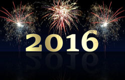 Happy New Year 2016 fireworks Stock Photography