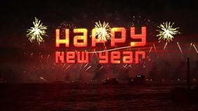 Happy new year Fireworks explosion Royalty Free Stock Images