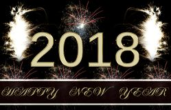 Happy New Year Fireworks 2018. 2018 Fireworks Party - New Year display!nHappy New Year gold text 2018 and fireworks Royalty Free Stock Images
