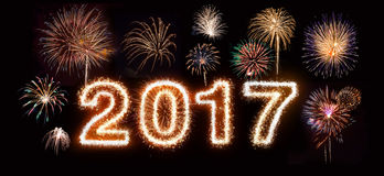 Happy New Year 2017 Fireworks. 2017 in a fireworks font, with various other fireworks stock photo