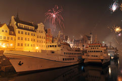 Happy new year, fireworks in Gdansk, Poland Stock Photo