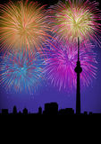 Happy New Year fireworks Germany landmark. Happy New Year fiireworks Berlin city night TV tower silhouette scene. EPS10 vector with transparencies layered for Stock Photography