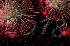 2018 Happy new year with fireworks. 2018 Happy new year with glow fireworks greetings card background Royalty Free Stock Photo
