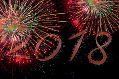2018 Happy new year with fireworks Royalty Free Stock Images